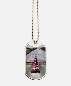 Work Boat on Texas  canal with barge Dog Tags
