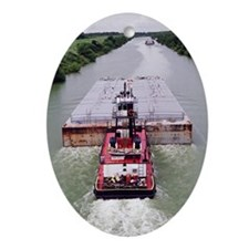 Work Boat on Texas  canal with barge Oval Ornament