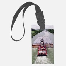 Work Boat on Texas  canal with b Luggage Tag