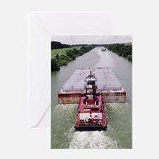 Work Boat on Texas  canal with barge Greeting Card