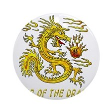 Year Of The Dragon Gold Letters 3D Round Ornament