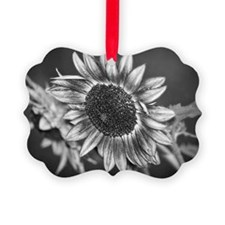 Black and White Sunflower Ornament
