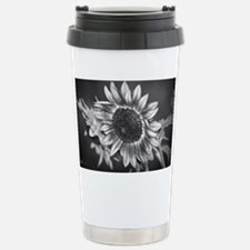 Black and White Sunflower Stainless Steel Travel M
