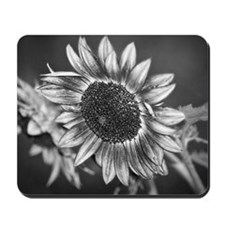 Black and White Sunflower Mousepad