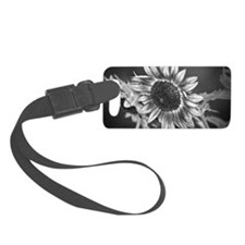 Black and White Sunflower Luggage Tag