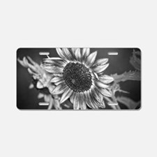 Black and White Sunflower Aluminum License Plate