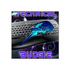"technical budgie Square Sticker 3"" x 3"""