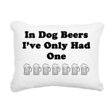 Dog beers on white Rectangular Canvas Pillow