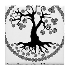 CP tree of life blk Tile Coaster