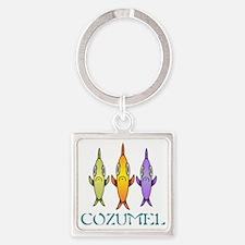 Cozumel 3-fishes Square Keychain