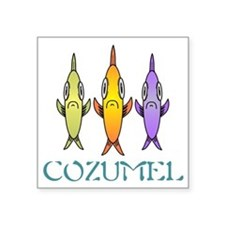 "Cozumel 3-fishes Square Sticker 3"" x 3"""
