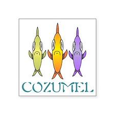 "Cozumel 3-fishes Square Sticker 3"" x 3"""