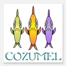 "Cozumel 3-fishes Square Car Magnet 3"" x 3"""