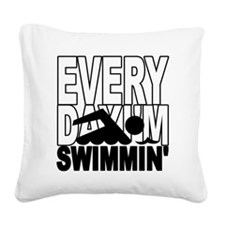 swimming2_wht Square Canvas Pillow