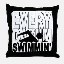 swimming2_wht Throw Pillow