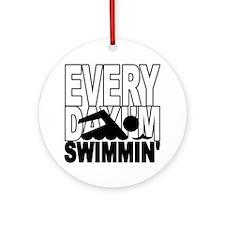 swimming2_wht Round Ornament