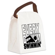 swimming_blk Canvas Lunch Bag