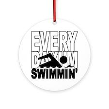 swimming_blk Round Ornament