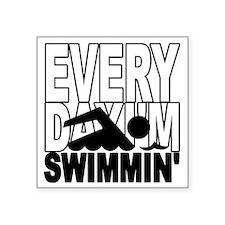 """swimming_blk Square Sticker 3"""" x 3"""""""