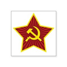 "Hammer and Sickle with Star Square Sticker 3"" x 3"""