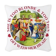 alice too thin_red copy Woven Throw Pillow