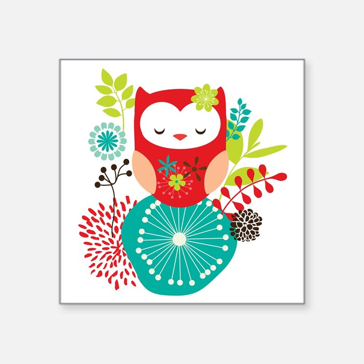 "girlyowl Square Sticker 3"" x 3"""