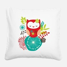 girlyowl Square Canvas Pillow