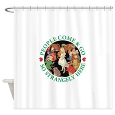 ALICE_people come and go_green copy Shower Curtain