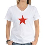 Red Five Point Star Women's V-Neck T-Shirt
