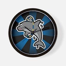 Dolphin Hoop Porpoise Cartoon Wall Clock