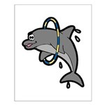 Dolphin Hoop Porpoise Cartoon Small Poster
