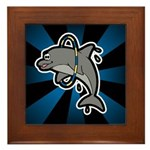 Dolphin Hoop Porpoise Cartoon Framed Tile