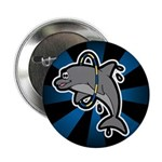 "Dolphin Hoop Porpoise Cartoon 2.25"" Button (100 pa"