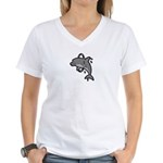 Dolphin Hoop Porpoise Cartoon Women's V-Neck T-Shi