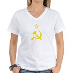Yellow Hammer Sickle Star Women's V-Neck T-Shirt