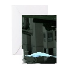 Egret Over water With Urban Reflecti Greeting Card
