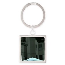 Egret Over water With Urban Reflec Square Keychain