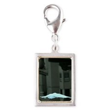 Egret Over water With Urban  Silver Portrait Charm