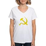 Yellow Hammer Sickle Women's V-Neck T-Shirt