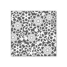 "floral_lace_pattern_notecar Square Sticker 3"" x 3"""