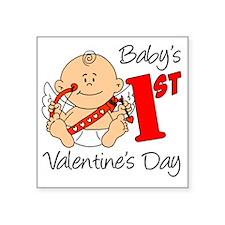 "Babys First Valentines Day Square Sticker 3"" x 3"""