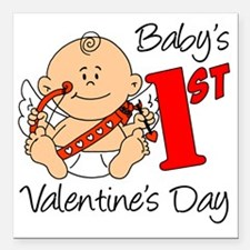 """Babys First Valentines D Square Car Magnet 3"""" x 3"""""""