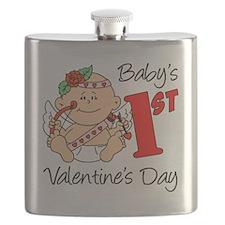 Babys 1st Valentines Girl Flask
