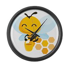 happy_honeybee Large Wall Clock