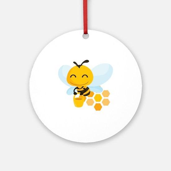 happy_honeybee Round Ornament
