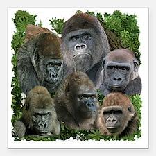 """gorilla tee Square Car Magnet 3"""" x 3"""""""