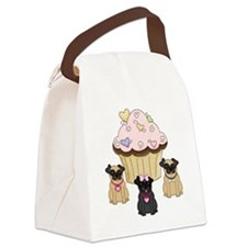 Cupcake Pug Dogs Canvas Lunch Bag