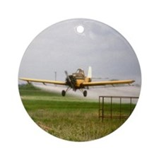 Texas Crop Duster Round Ornament