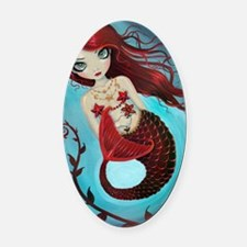 Ruby mermaid Oval Car Magnet