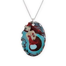 Ruby mermaid Necklace Oval Charm